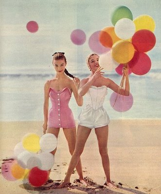 Vintage balloons on beach