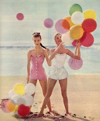 Vintage balloons on beach